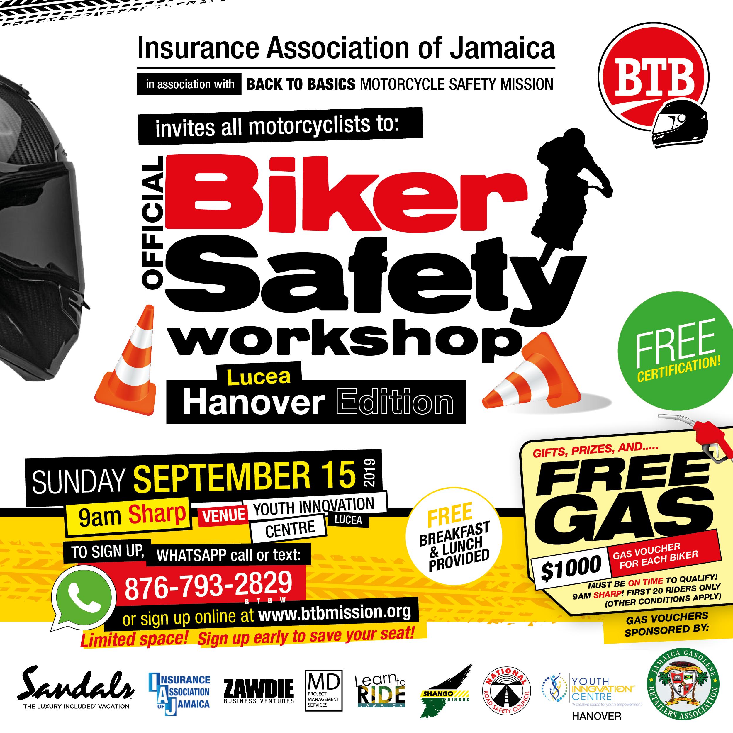 A biker safety workshop flyer